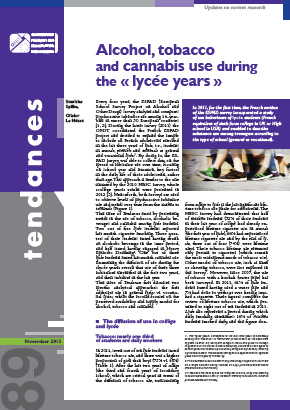 Alcohol, tobacco and cannabis use during the